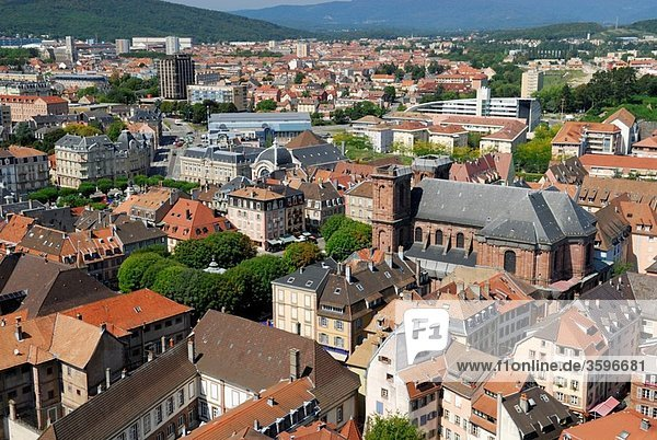 Overview of old town with the famous Saint Christophe cathedral  viewed from citadel Belfort city  Belfort territory  Franche Comte region  Europe