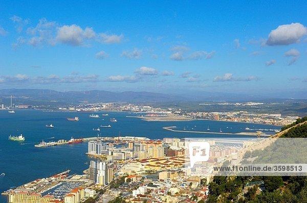 Gibraltar: Gibraltar town foreground with bay of Algeciras  Spain background U K