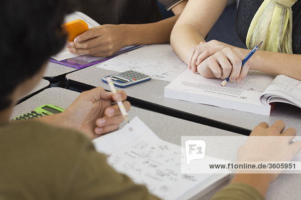 Students studying mathematics  cropped