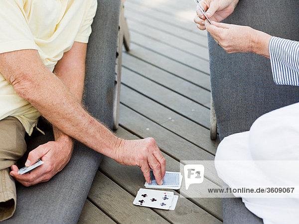 Leute Außenaufnahme Spielkarten