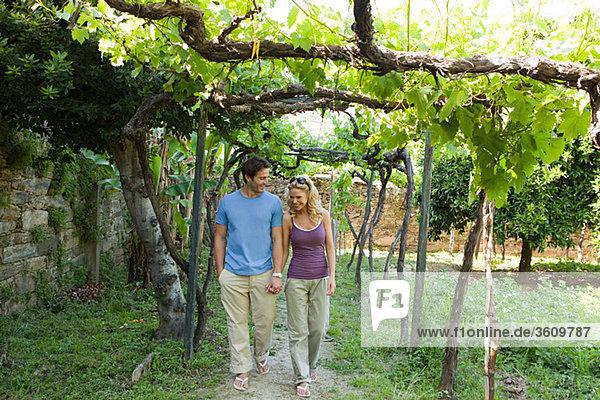 Paar Wanderung durch einen Weinberg