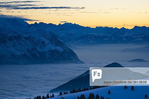 Berg Winter Berggipfel Gipfel Spitze Spitzen Himmel Meer Nebel Alpen Schweiz Vierwaldstättersee
