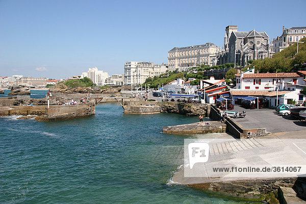 Frankreich Wohnhaus Strand Gebäude Küste Stadt Großstadt Meer Steg Atlantischer Ozean Atlantik Biarritz