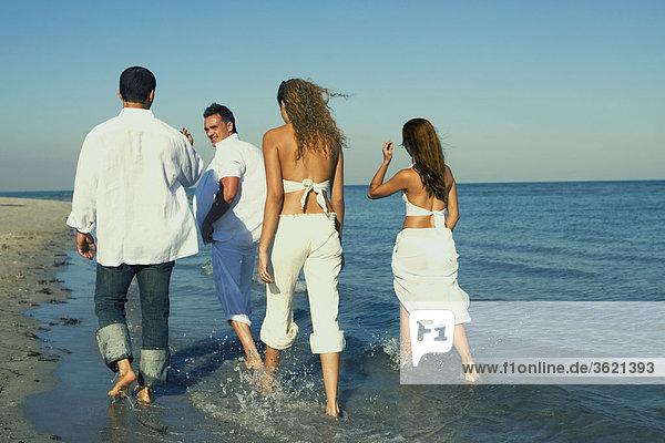 Rückansicht des zwei junge Frauen und ein junger Mann mit einem Mitte Erwachsenen Mann zu Fuß am Strand