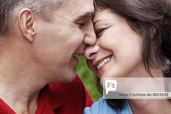 Nahaufnahme eine lächelnd reifes Paar