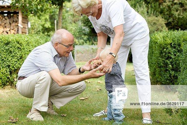 Großeltern mit Kleinkind im Garten