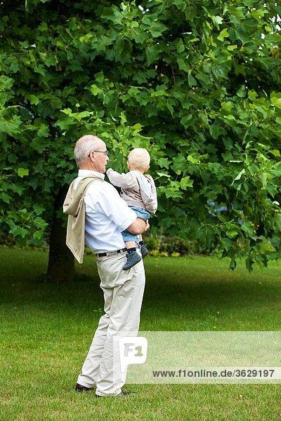 Großvater trägt Kleinkind im Freien