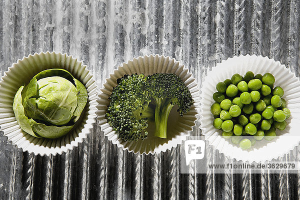 High angle view of vegetables in paper cups