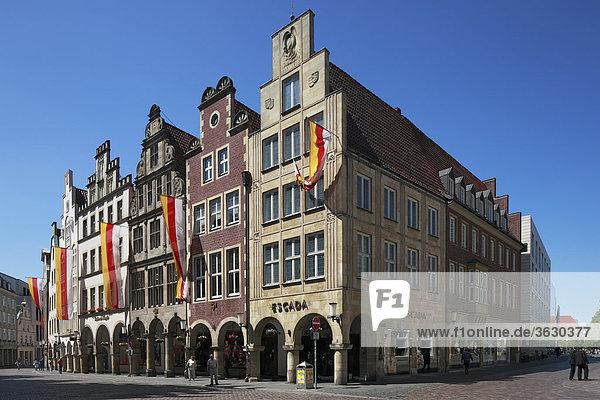 Giebelhäuser am Prinzipalmarkt  Münster  Deutschland