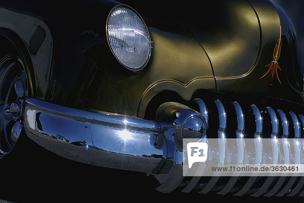 Close-up of the headlight of a car