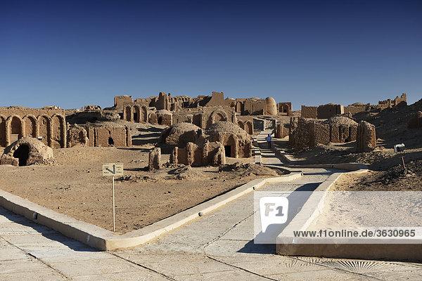 Al-Bagawat Christian cemetery at Kharga Oasis  Libyan Desert  Egypt