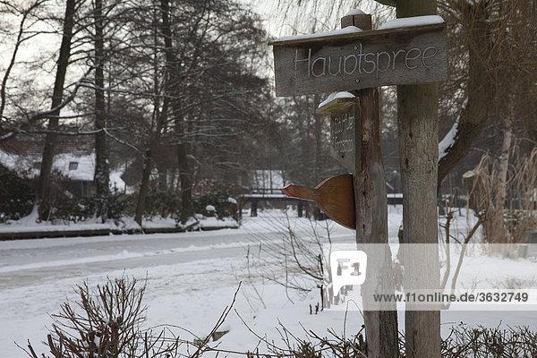 Der Spreewald im Winter mit zugefrorenen Kanälen  Spree in Brandenburg  Deutschland  Europa