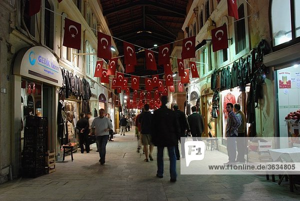 Shops in the bazaar of Istanbul at night
