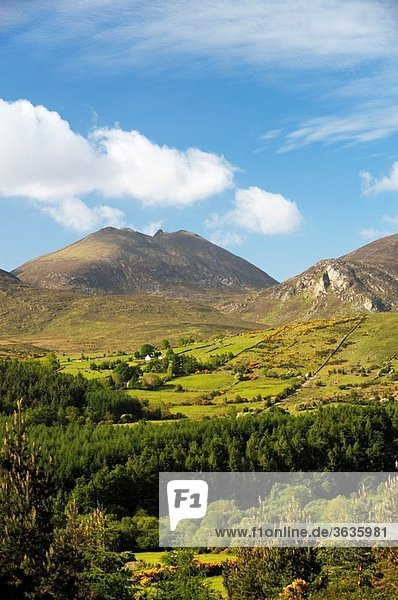 The Mourne Mountains  County Down  Northern Ireland South over the Trassey Valley  Spellack and Hares Gap to Slieve Bearnagh