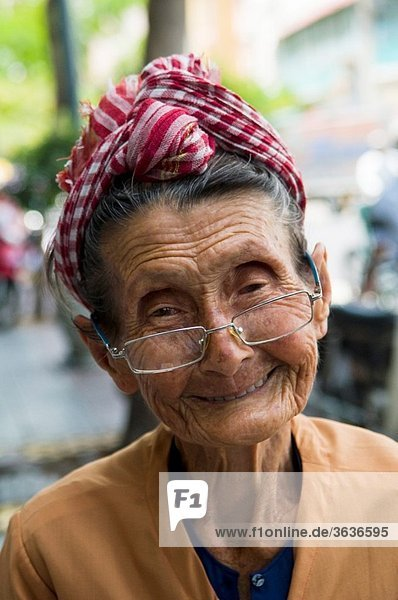 Portrait of an old Vietnamese woman.