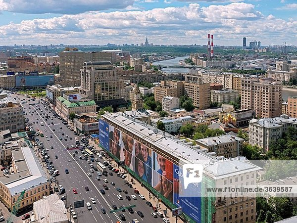 View from Lotte-Plaza onto Smolenskaya Pl./Novinskiy Bul.  Moscow  in the back Moskva River  Russia