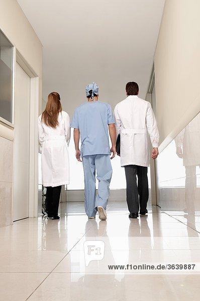 Rückansicht des drei Ärzte zu Fuß in einem Korridor Krankenhaus