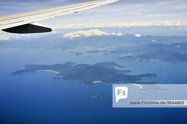 Aerial view from a plane  resort island of Ilha Grande  Costa Verde  Rio de Janeiro  Brazil  South America