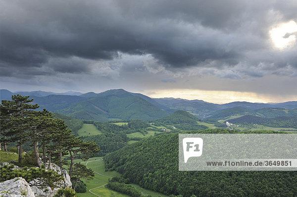 Blick vom Peilstein nach Süden Richtung Schneeberg  Triestingtal  Niederösterreich  Österreich  Europa