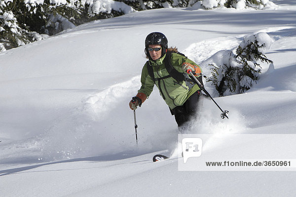 Skifahrer im Tiefschnee  Salzburg  Österreich  Europa