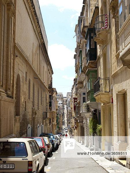 Straße  Valletta  Insel Malta  Republik Malta  Europa