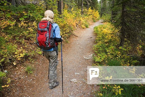 Woman hiker on Saint Mary Lake trail  Glacier National Park