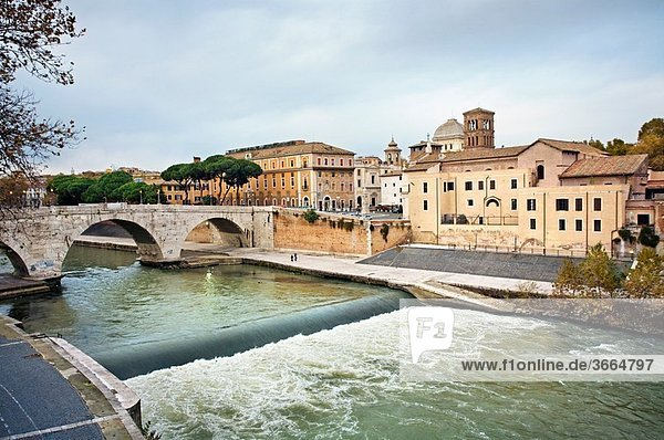 Isola Tiberina on Tiber river. Rome. Lazio. Italy.