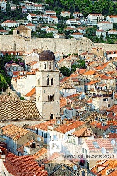 Franciscan Monastery. Placa Stradun main street. Old medieval city. Dubrovnik. Dalmatian coast. Croatia.