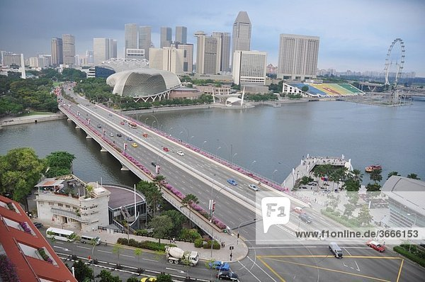 Singapore: view on the city  on the Marina Bay and the Esplanade Bridge  from the roof floor of the Fullerton Hotel