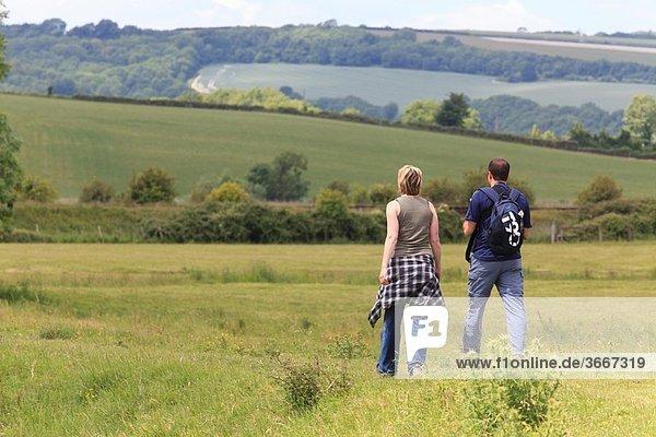 couple walking away along a path in a field