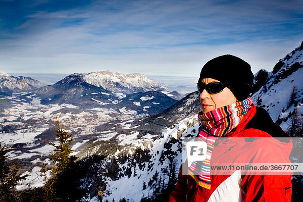 Woman with a view from Mt. Jenner  Berchtesgadener Land district  Bavaria  Germany  Europe