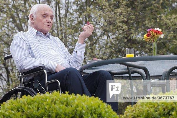 sitzend Mann Garten Rollstuhl