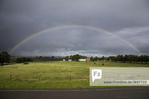 Ein Regenbogen am Himmel über einer ländlichen Umgebung