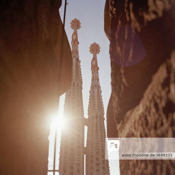 Detail der Türme von La Sagrada Familia  Barcelona  Spanien
