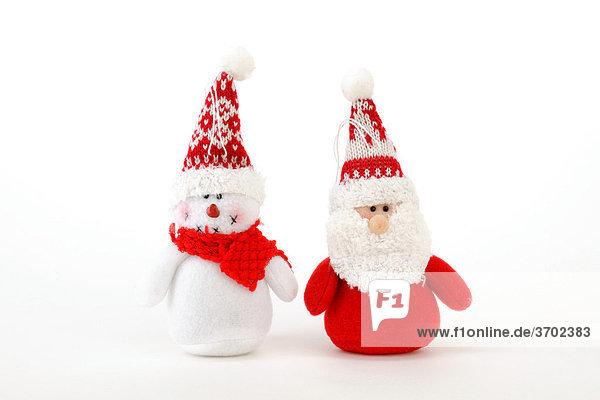 Santa Claus and snowman made of fabric  plush