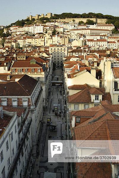 View of the Castelo de Sao Jorge castle  Moorish fortress  and the Baixa district from the Elevador Santa Justa elevator  Lisbon  Portugal  Europe