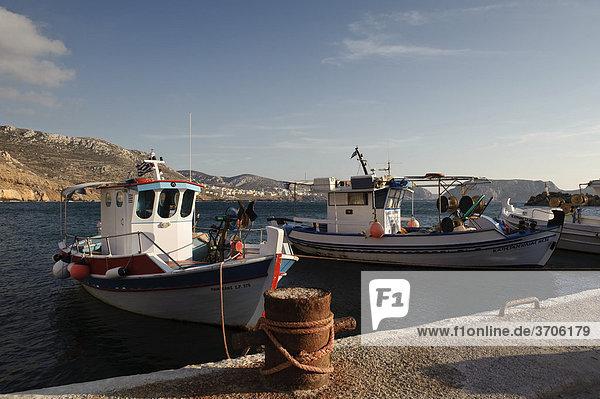 Fishing boats in the port of Finiki  island of Karpathos  Aegean Islands  Dodecanese  Aegean Sea  Greece  Europe