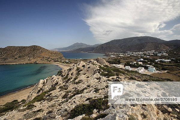 Blick auf Arkassa  Paleokastro und Agios Nikolaos  Insel Karpathos  Ägäische Inseln  Ägäis  Dodekanes  Griechenland  Europa