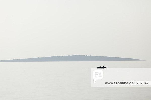 Fishing boat off Pag island  Dalmatia  Kvarner Bay  Adriatic Sea  Croatia  Europe