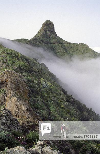 Wanderin am Roque de Taborno  Taborno  Teneriffa  Kanarische Inseln  Spanien  Europa