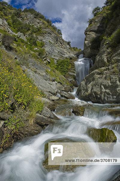 Gebirgsbach mit einem Wasserfall im Skippers Canyon  Queenstown  Südinsel  Neuseeland