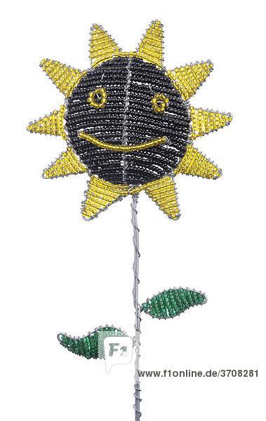 Sonnenblume aus Glasperlen auf Draht