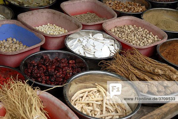 Markt  Verkauf am Marktstand  Auslage  chinesische Gewürze und Wurzeln  Lijiang  Provinz Yunnan  Volksrepublik China  Asien