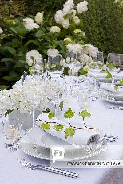 Gedeckter Tisch auf Terrasse  stilvoll  Tischdeko  Ambiente  festlich  Garten