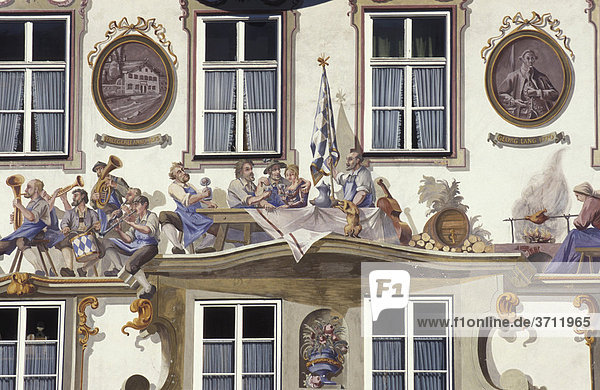 Lüftlmalerei an einem Haus in Oberammergau  Oberbayern  Bayern  Deutschland  Europa