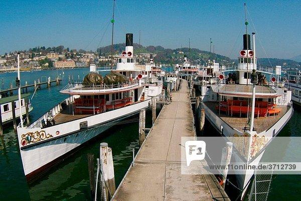Wheel steamer fleet Luzern Vierwaldstaettersee