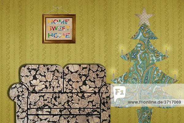 Wohnzimmer mit Sofa und Weihnachtsbaum