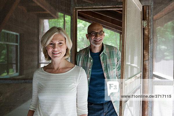 Mature couple at rural retreat