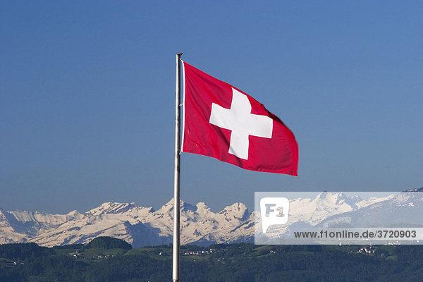 Schweizer Flagge in Lindau am Bodensee Schweizer Flagge in Lindau am Bodensee