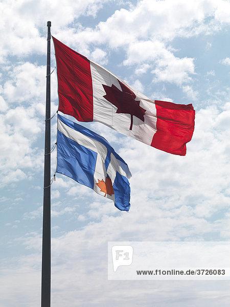 Die Fahnen von Toronto und Kanada im Wind